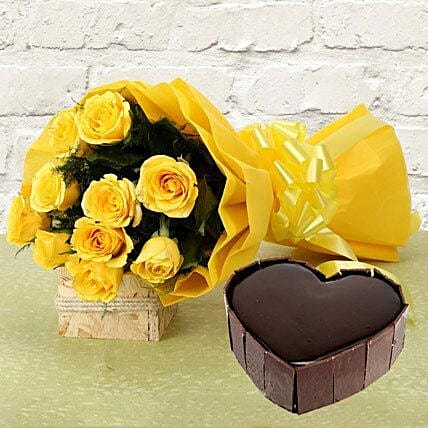 Bright Heart - Bunch of 10 yellow roses and 1 kg of heart shaped chocolate cake.