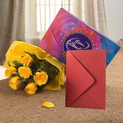 Flower Hamper N Greeting Card - Bunch of 6 Yellow Roses, 119gms Celebration Pack with Greeting Card.