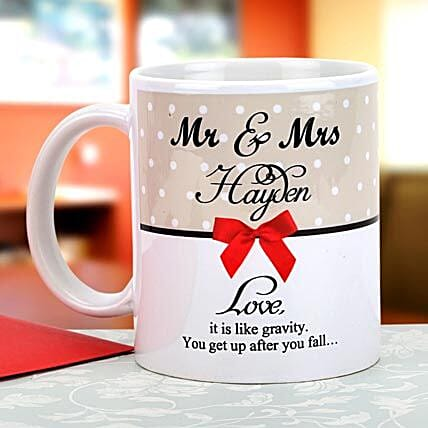 Gravity of love-Personalized Mug White,Cream,Red and Black Color