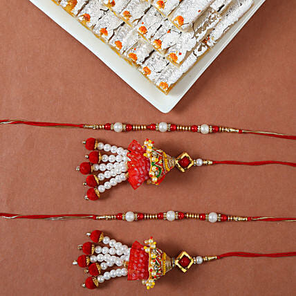 Online Pearl And Lumba Rakhi With Sweets