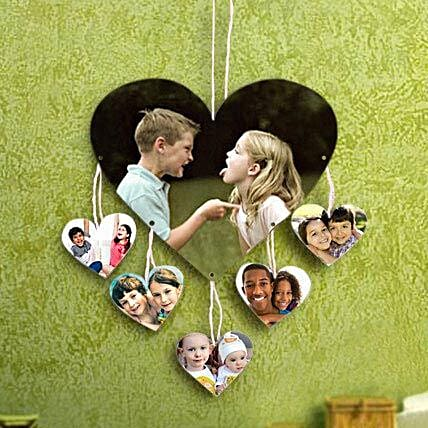 Personalized hanging heart shaped photo frame