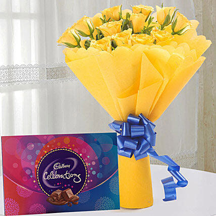 Style Celebration - Bunch of 12 Yellow Roses Packing and box of 119gms cadbury celebration chocolate.